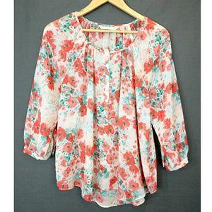 Lauren Conrad Coral Floral Semi Sheer Blouse